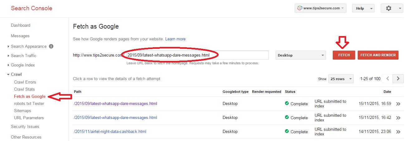 Fetch as google in SEO tips