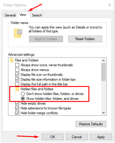 """""""show hidden files"""" in windows 10 operating system"""