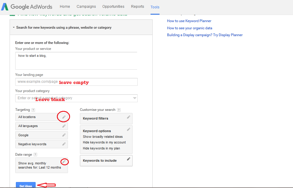 Find low competition keywords using Keyword planner
