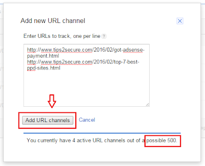 creating new URL channel in Adsense account