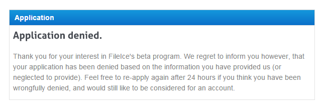application rejected by Fileice