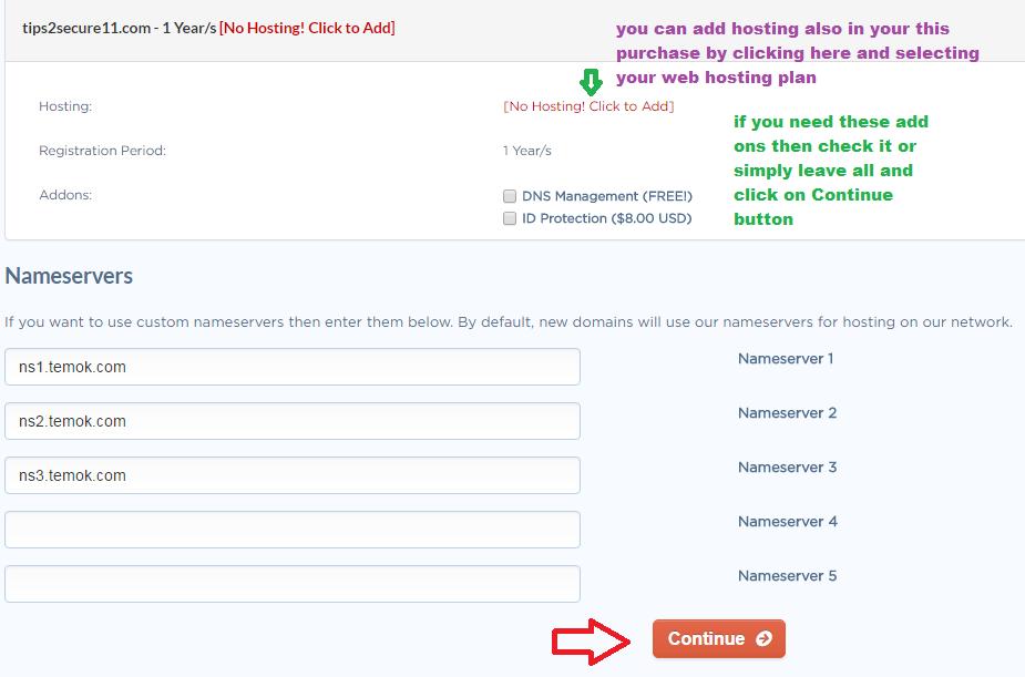 Temok domain registration AddOns