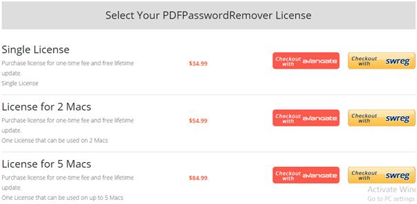 Cisdem PDFPasswordRemover Pricing