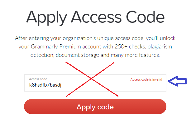 grammarly access codes