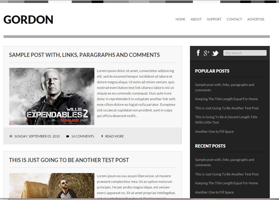 Gordon classical blogger template with fast loading speed