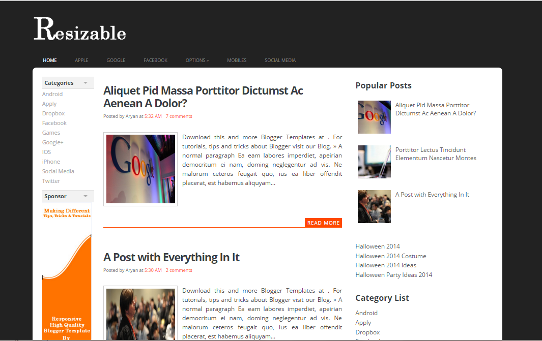 Resizable SEO blogger templates