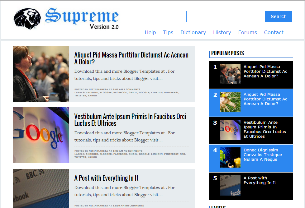 Supreme V2 SEO optimized and fast loading template for blogger
