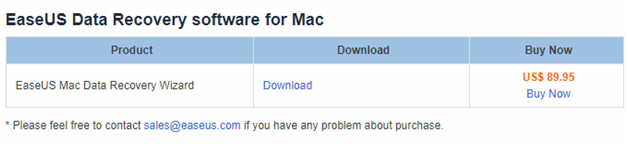 easeus data recovery pricing for Mac