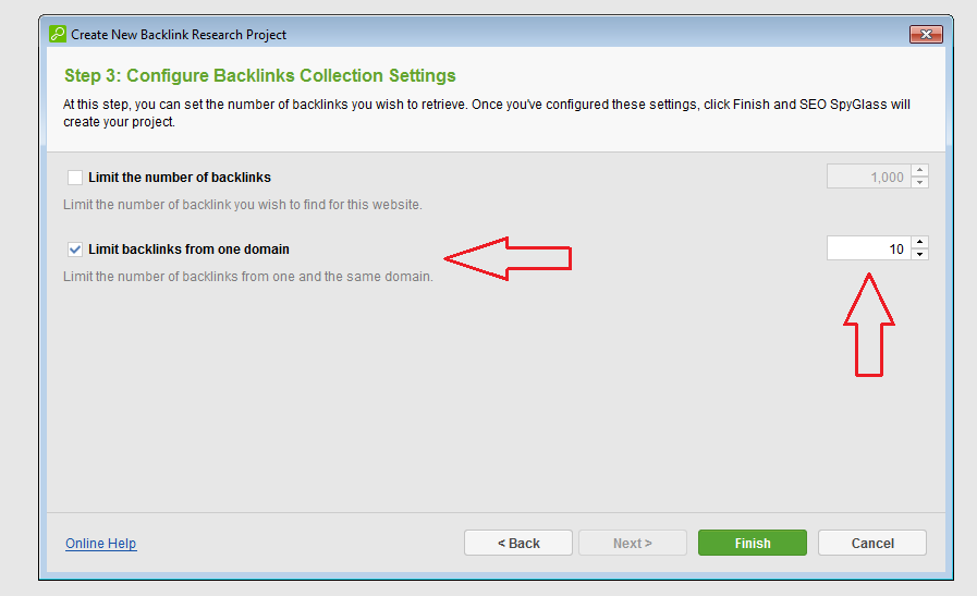 configure backlinks collection settings