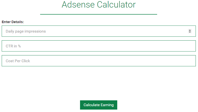 Google Adsensee revenue calculator