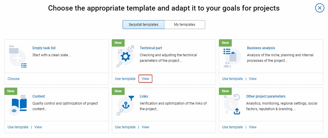 Choose the appropriate Serpstat Checklist Template