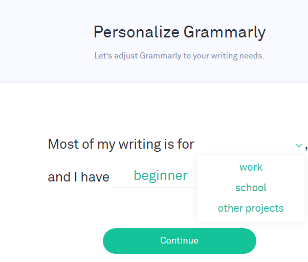 Grammarly account registration