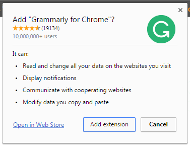 Grammarly discount code extension