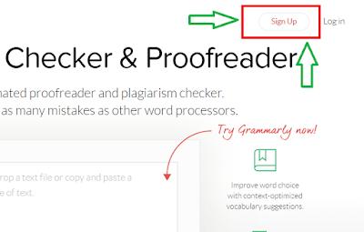 Sign up Grammarly