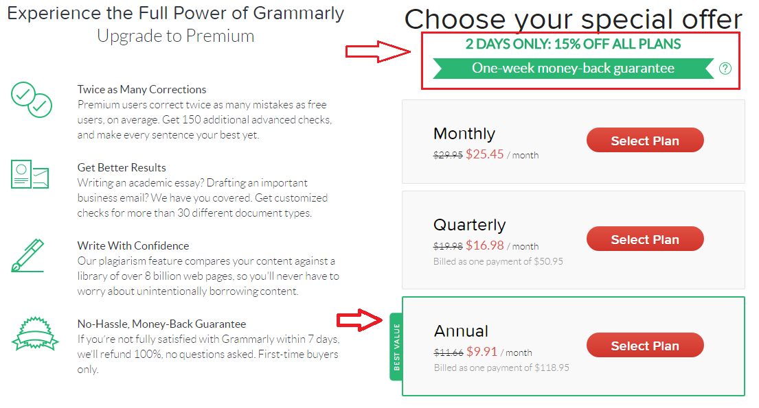 grammarly cost for students
