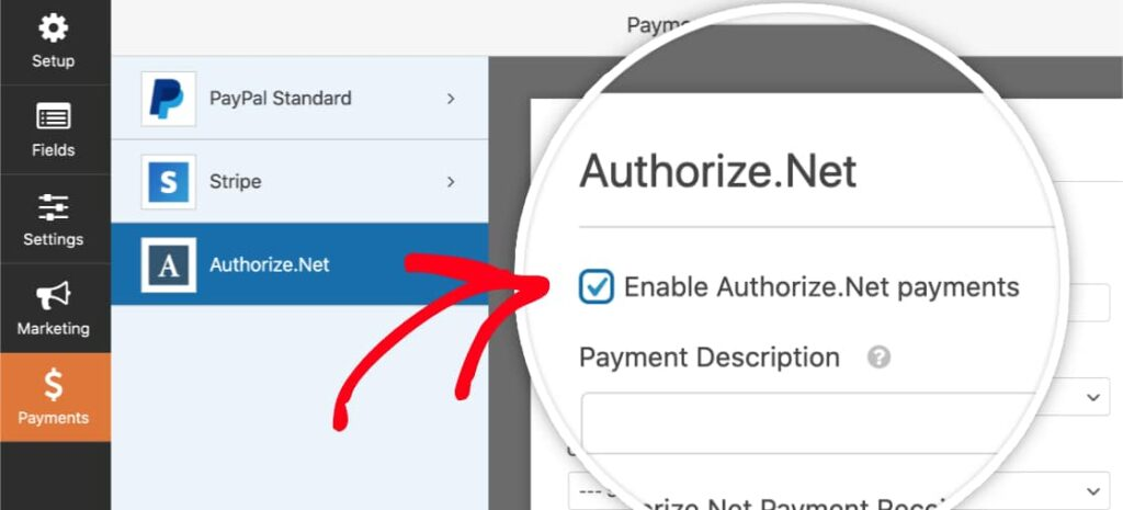 authorize.net addon with wpforms